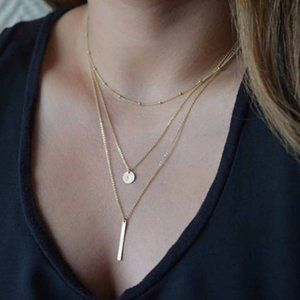 Multi-layered Bar Coin Necklace (Gold)
